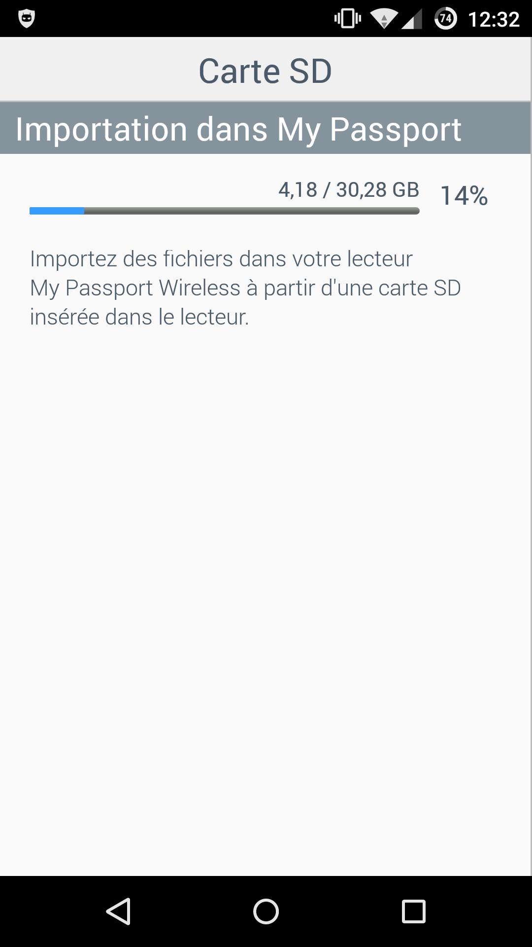 Copie de la SD vers le disque dur, suivi depuis l'application Android