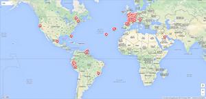 Carte du Monde : chaque puce regroupe un ensemble d'images prises dans le coin