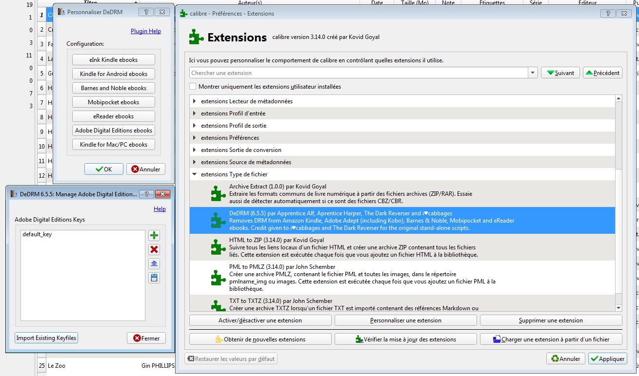 Configuration de DeDRM